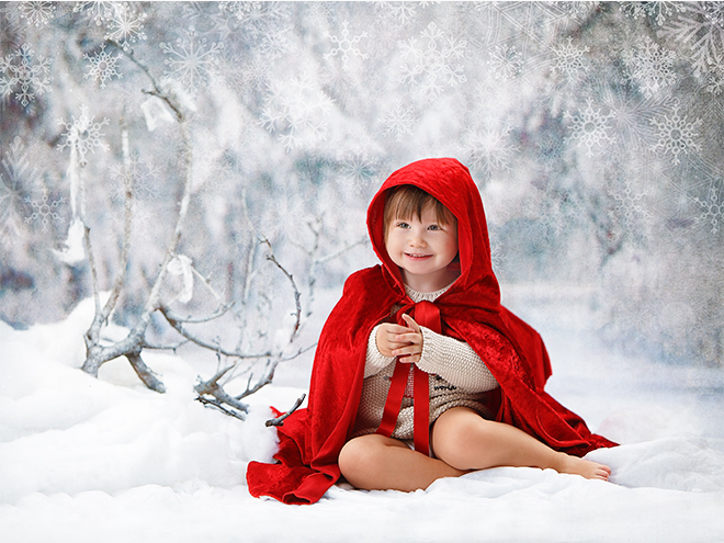 children photography, barcelona, christmas setting, postcard